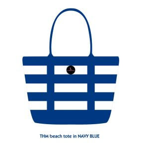 Navy blue tote bag with black PVC logo